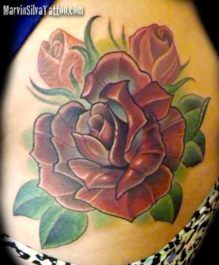 Tattoos - Custom Rose Tattoo - 80804