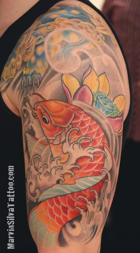 Tattoos - Koi Fish Lotus Flower Tattoo - 86392