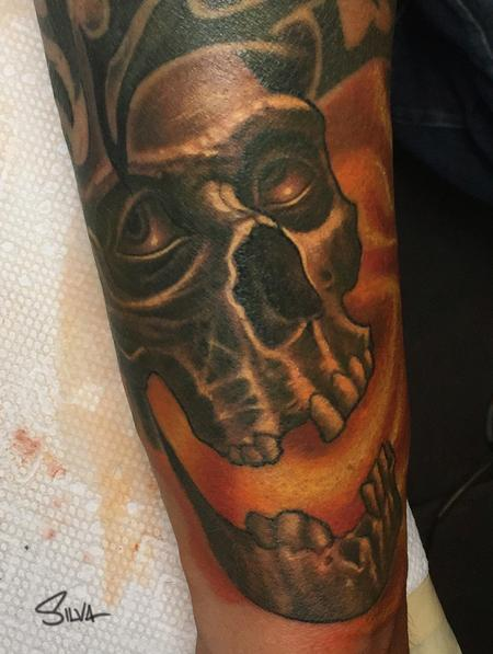 Tattoos - Skull Face Filler Tattoo - 106744