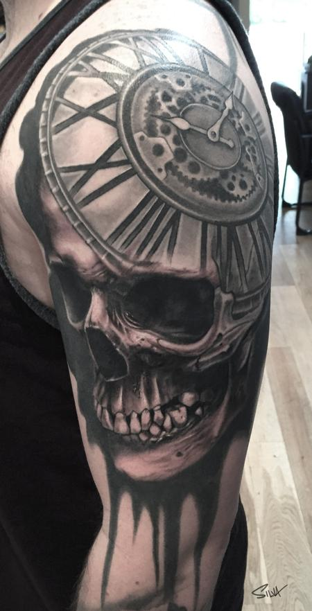 Tattoos - Custom Skull Clock Tattoo - 106745