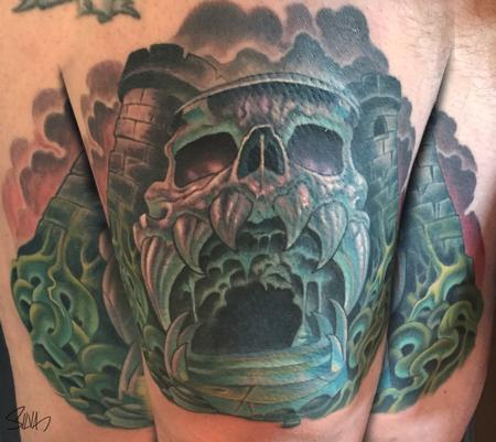 Marvin Silva - Custom Castle Greyskull Tattoo