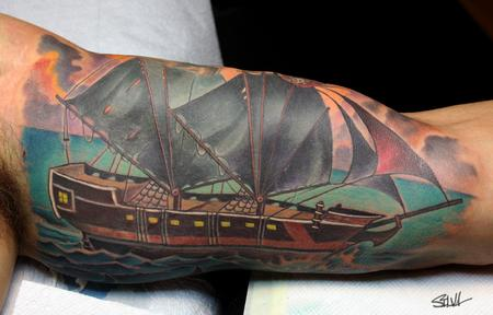 Tattoos - Custom Pirate Ship Tattoo - 100596