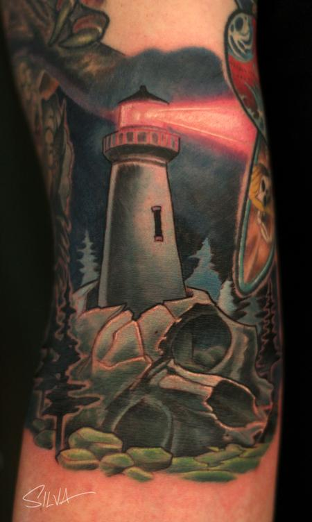 Tattoos - Custom Skull Lighthouse Tattoo - 109981