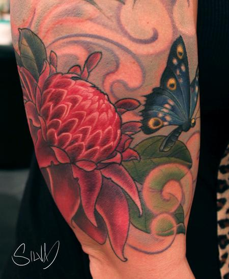 Tattoos - Custome Ginger Flower and Butterfly Tattoo - 114283