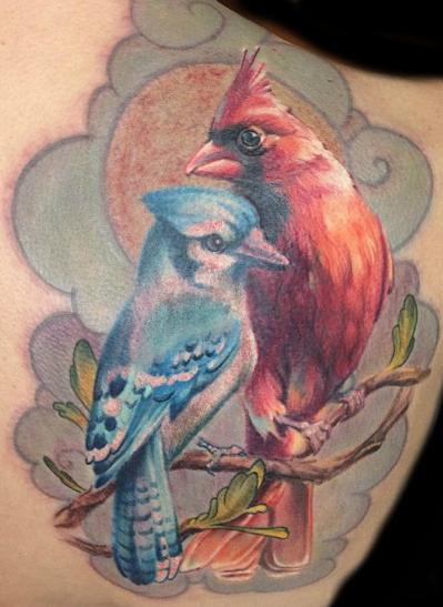 Blue jay bird tattoo