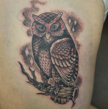 Tattoos - Black and Gray Owl - 117862