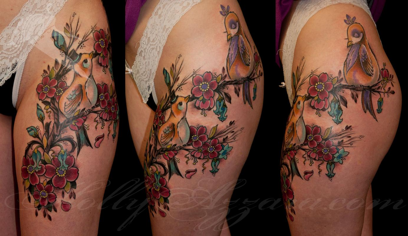 Fancy Birds and Flowers Thigh by Holly Azzara TattooNOW