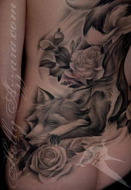 Tattoos - Kitsune with Roses - 109218