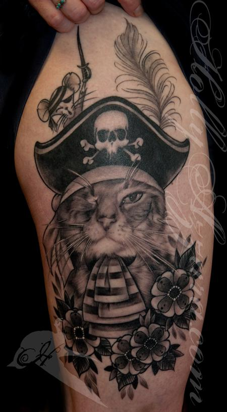 A Cat Named Pirate-Fancy Pet Portrait Healed Tattoo Design
