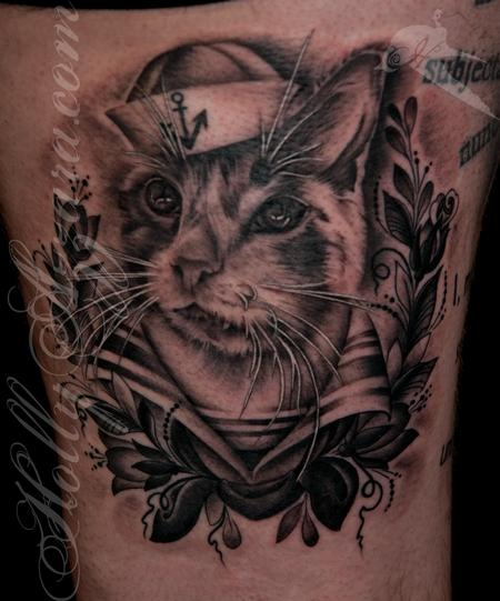 Tattoos - Breakfast the Sailor Cat  - 96345