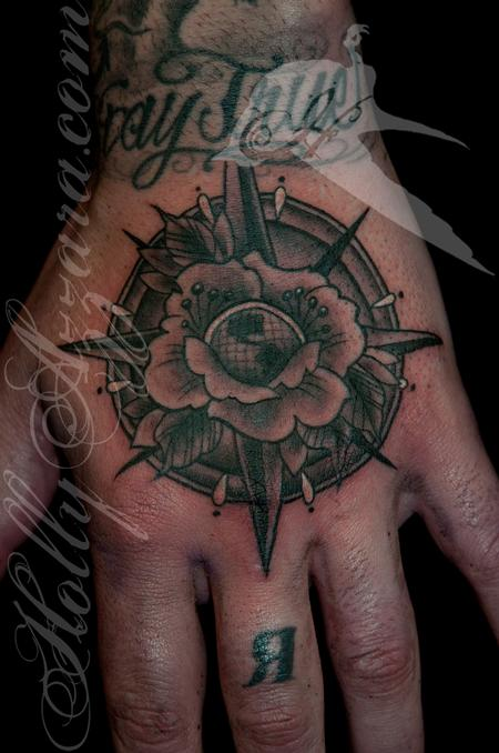 Rose Compass Hand Tattoo Design Thumbnail