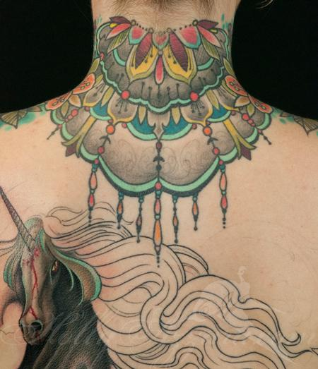 Tattoos - Deathhead moth fancy neckpiece back view - 123668