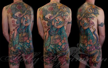 Tattoos - Justins Geisha with a gas mask back piece - 96347