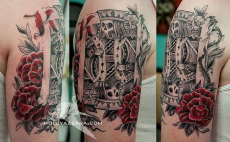 Suicide king card and roses by holly azzara tattoonow for Suicide kings tattoo