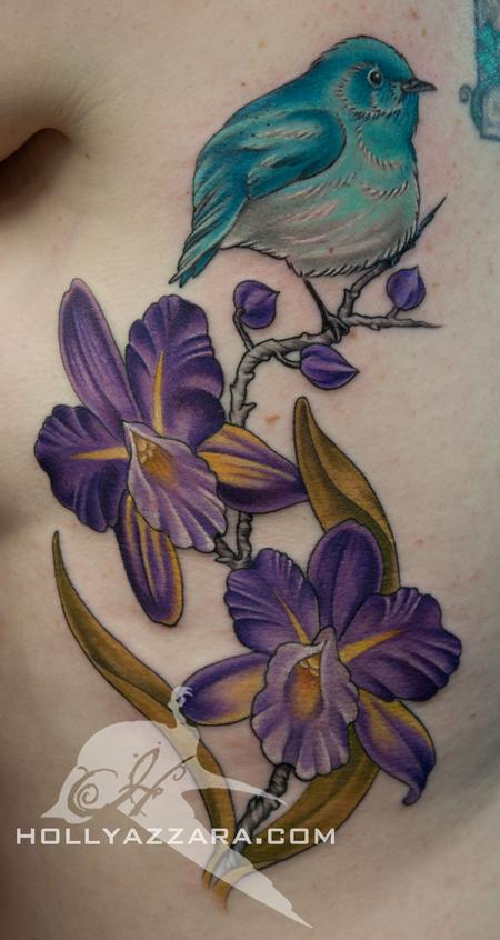 Holly Azzara - Blue bird with purple orchids