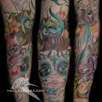 Holly Azzara - Day Of The Dead Sleeve (In Progress)