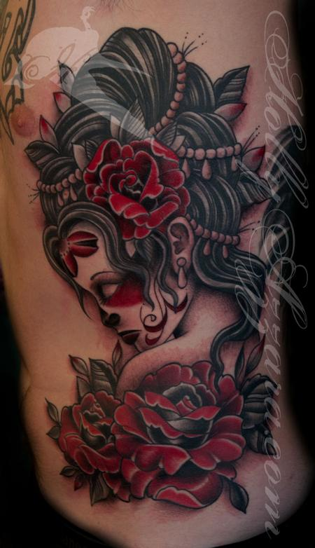 Traditional Day Of Dead Girl with Red Roses Tattoo Design Thumbnail