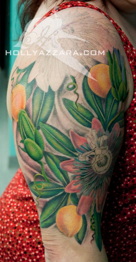 Holly Azzara - Passion Flower Half Sleeve Color In Progress