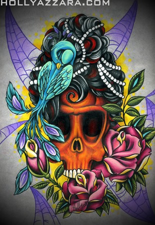 Holly Azzara - Skull With Peacock