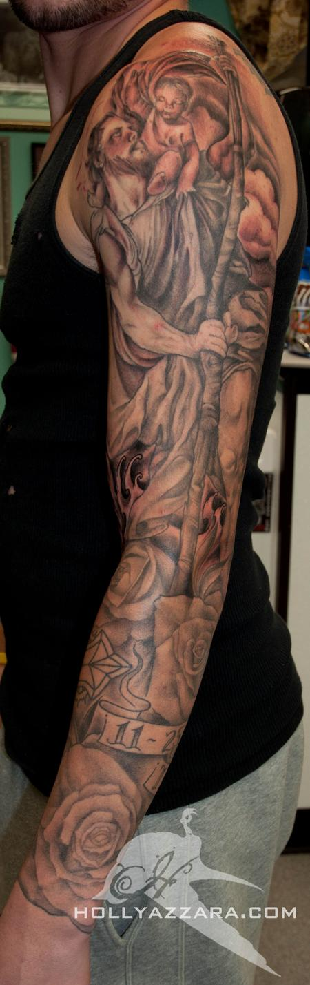 Holly Azzara - Saint Christopher Sleeve Almost Done