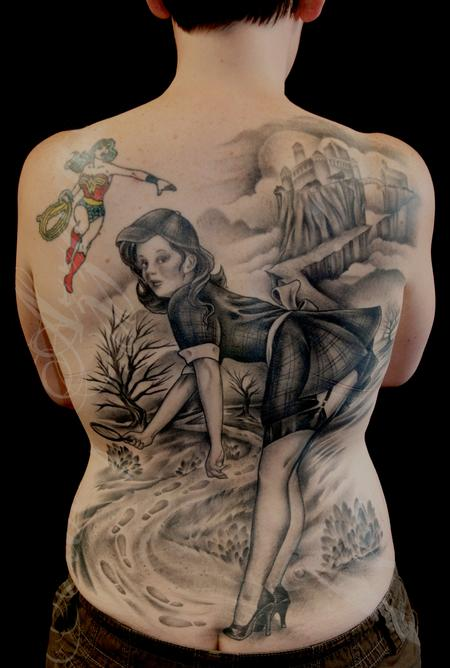 Tattoos - Sherlock Pin Up Back Piece Healed - 89907