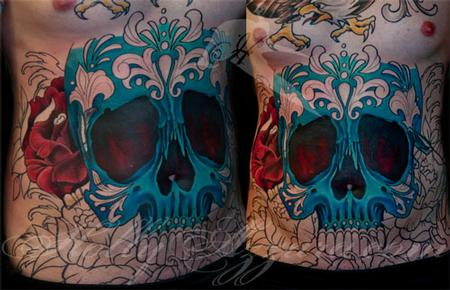 Skull Cover Up Chest Tattoos for Men