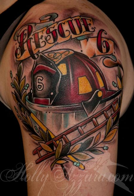 traditional fire helmet memorial by holly azzara tattoonow. Black Bedroom Furniture Sets. Home Design Ideas