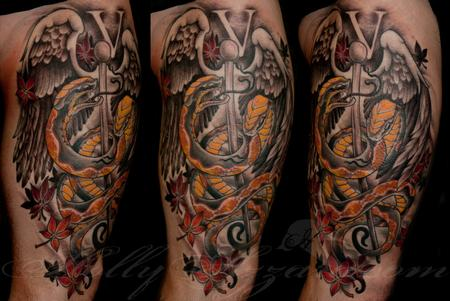 Tattoos - Vet snakes thigh spread - 115547