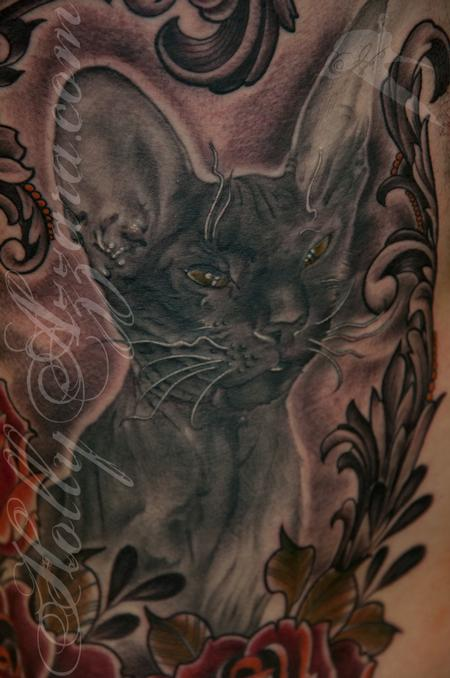 Tattoos - Zar cat with traditional red roses portrait detail - 115549