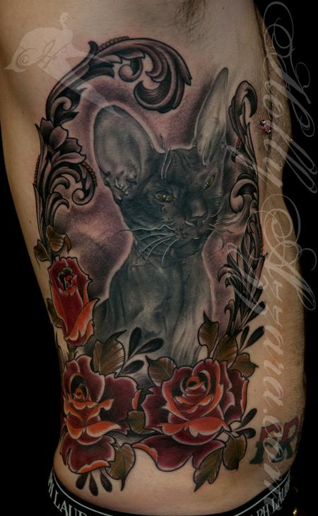 Zar cat with traditional roses Tattoo Design