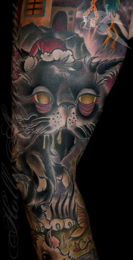 Tattoos - Zombie Santa Cat Coverup Detail - 111840