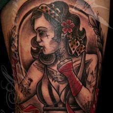 Tattoos - Boxer lady with tiger portrait - 115559