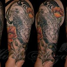 Tattoos - Hawk and poppies spread - 115560