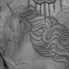 Tattoos - Unicorn and phoenix battle backpiece b&w - 123667