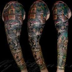 Tattoos - Zombie Pet Cemetery Coverup Sleeve Spread  - 111839