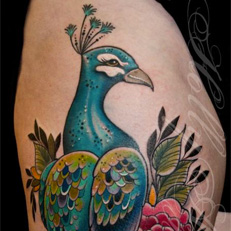 Tattoos - Peacock with Peonies - 109217
