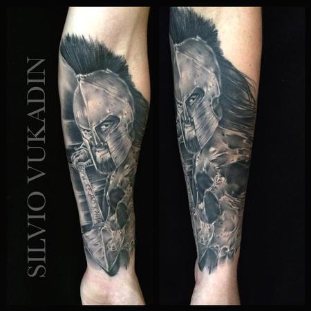 Tattoos - Spartan warrior and Skull - 93876