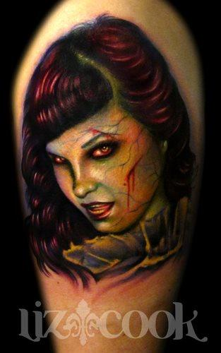 Tattoos - Zombie Style Bettie Page Portrait - 62627