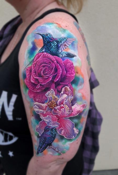 Rose, Hibiscus, Hummingbirds Tattoo Thumbnail