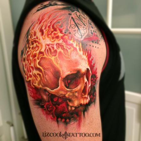 Burning Skull Tattoo Design Thumbnail