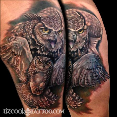 owls on thigh by liz cook tattoos