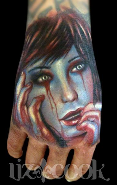 Tattoos - Creepy Girl Hand Tattoo - 70709