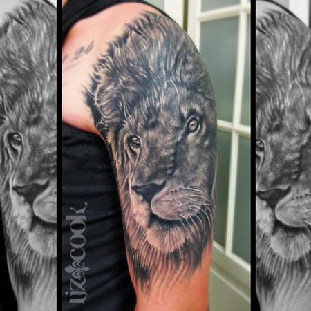 Tattoos - Black and Gray Lion - Fully Healed - 84307
