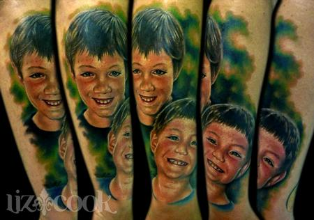 Simon's portraits of his boys. Tattoo Design Thumbnail