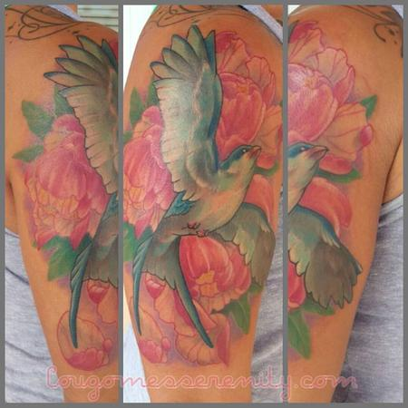 Bird flowers half sleeve Design Thumbnail