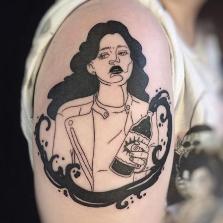 Woman drinking tattoo Tattoo Design Thumbnail