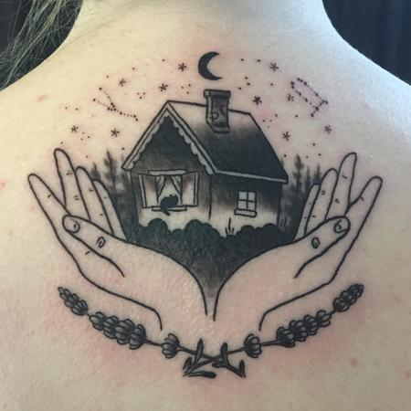 House with hands tattoo Design Thumbnail