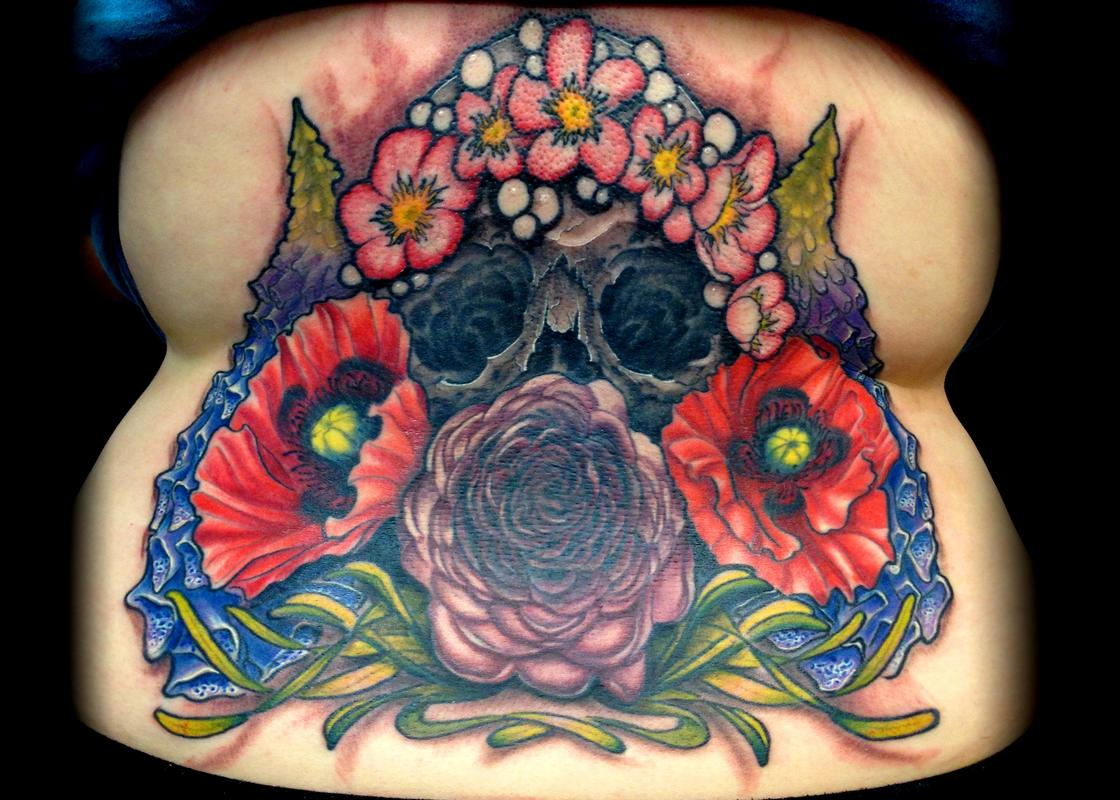 Rebel Muse Tattoo Tattoos Flower Skull with Poisonous Flowers