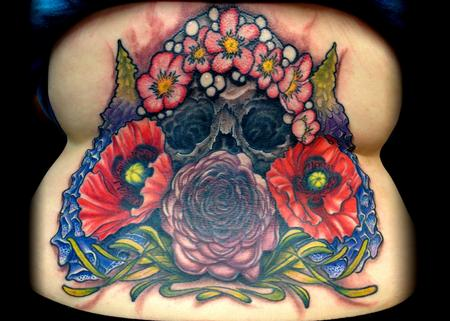 Skull with Poisonous Flowers Tattoo Thumbnail
