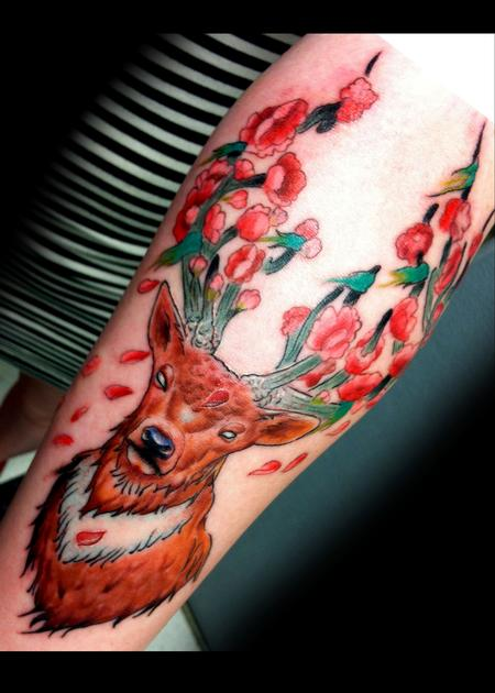 Tattoos - Stag and Flowers - 97615